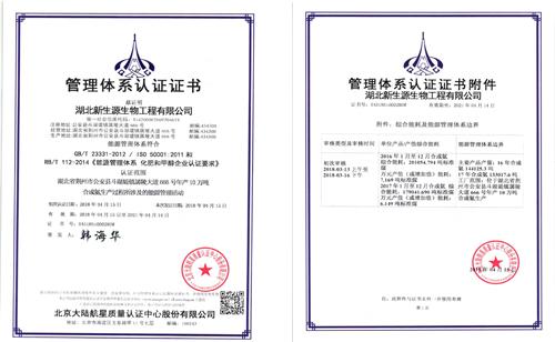 热烈祝贺湖北新生源生物工程有限公司 获得航星认证能源管理体系认证证书